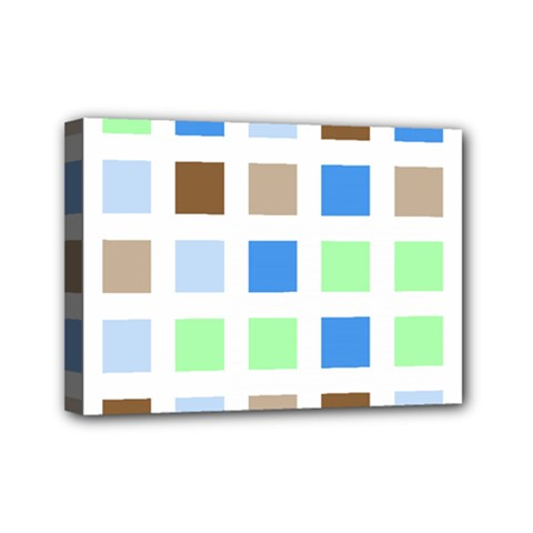 Colorful Green Background Tile Pattern Mini Canvas 7  X 5