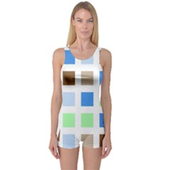 Colorful Green Background Tile Pattern One Piece Boyleg Swimsuit