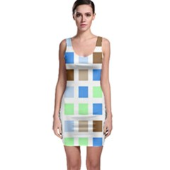 Colorful Green Background Tile Pattern Sleeveless Bodycon Dress