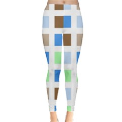 Colorful Green Background Tile Pattern Leggings