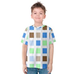 Colorful Green Background Tile Pattern Kids  Cotton Tee