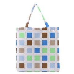 Colorful Green Background Tile Pattern Grocery Tote Bag