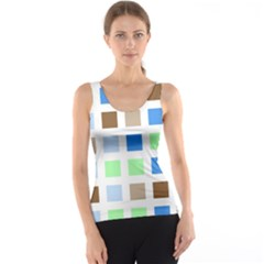 Colorful Green Background Tile Pattern Tank Top