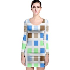 Colorful Green Background Tile Pattern Long Sleeve Bodycon Dress