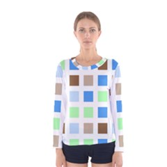 Colorful Green Background Tile Pattern Women s Long Sleeve Tee