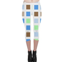 Colorful Green Background Tile Pattern Capri Leggings