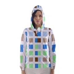 Colorful Green Background Tile Pattern Hooded Wind Breaker (women)