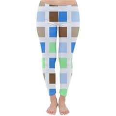 Colorful Green Background Tile Pattern Classic Winter Leggings