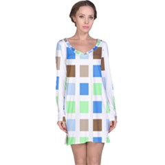 Colorful Green Background Tile Pattern Long Sleeve Nightdress