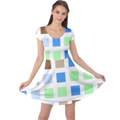 Colorful Green Background Tile Pattern Cap Sleeve Dresses