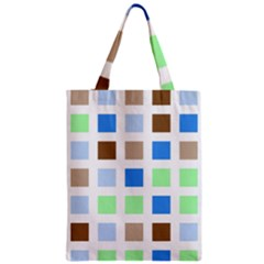 Colorful Green Background Tile Pattern Zipper Classic Tote Bag