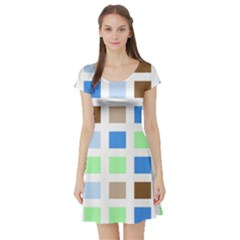 Colorful Green Background Tile Pattern Short Sleeve Skater Dress