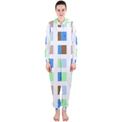 Colorful Green Background Tile Pattern Hooded Jumpsuit (ladies)