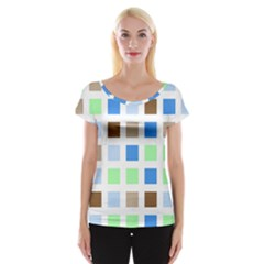 Colorful Green Background Tile Pattern Women s Cap Sleeve Top