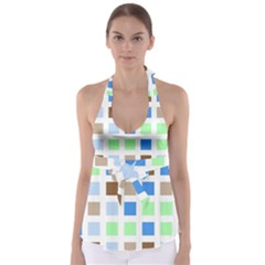 Colorful Green Background Tile Pattern Babydoll Tankini Top