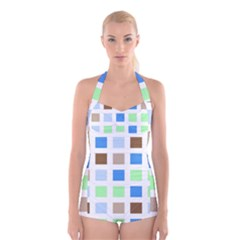 Colorful Green Background Tile Pattern Boyleg Halter Swimsuit