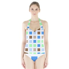 Colorful Green Background Tile Pattern Halter Swimsuit