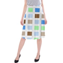 Colorful Green Background Tile Pattern Midi Beach Skirt