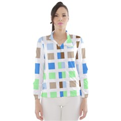 Colorful Green Background Tile Pattern Wind Breaker (women)