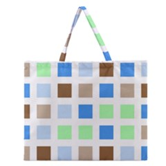 Colorful Green Background Tile Pattern Zipper Large Tote Bag