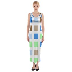 Colorful Green Background Tile Pattern Fitted Maxi Dress