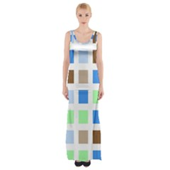 Colorful Green Background Tile Pattern Maxi Thigh Split Dress