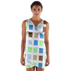 Colorful Green Background Tile Pattern Wrap Front Bodycon Dress