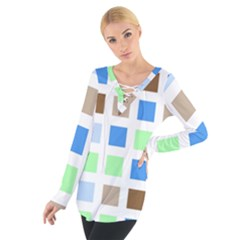 Colorful Green Background Tile Pattern Women s Tie Up Tee