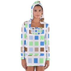 Colorful Green Background Tile Pattern Women s Long Sleeve Hooded T-shirt