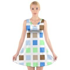 Colorful Green Background Tile Pattern V Neck Sleeveless Skater Dress