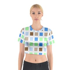 Colorful Green Background Tile Pattern Cotton Crop Top