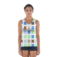 Colorful Green Background Tile Pattern Women s Sport Tank Top