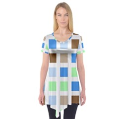 Colorful Green Background Tile Pattern Short Sleeve Tunic