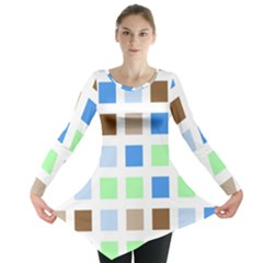 Colorful Green Background Tile Pattern Long Sleeve Tunic