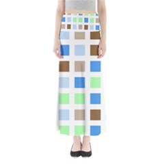 Colorful Green Background Tile Pattern Maxi Skirts