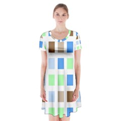 Colorful Green Background Tile Pattern Short Sleeve V-neck Flare Dress