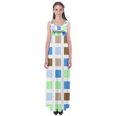 Colorful Green Background Tile Pattern Empire Waist Maxi Dress