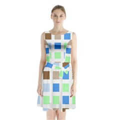 Colorful Green Background Tile Pattern Sleeveless Chiffon Waist Tie Dress