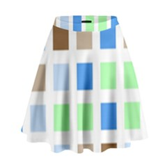 Colorful Green Background Tile Pattern High Waist Skirt