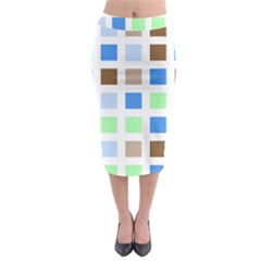 Colorful Green Background Tile Pattern Midi Pencil Skirt