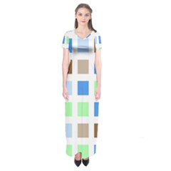 Colorful Green Background Tile Pattern Short Sleeve Maxi Dress