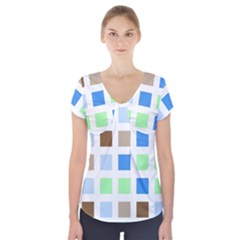 Colorful Green Background Tile Pattern Short Sleeve Front Detail Top