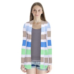 Colorful Green Background Tile Pattern Cardigans