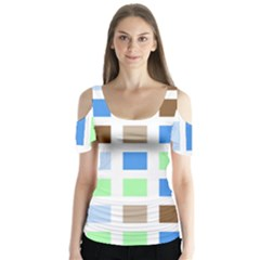 Colorful Green Background Tile Pattern Butterfly Sleeve Cutout Tee