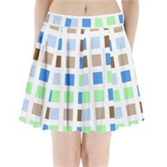 Colorful Green Background Tile Pattern Pleated Mini Skirt
