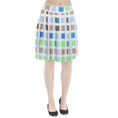 Colorful Green Background Tile Pattern Pleated Skirt