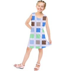 Colorful Green Background Tile Pattern Kids  Tunic Dress