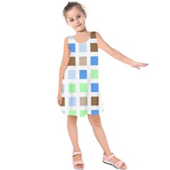 Colorful Green Background Tile Pattern Kids  Sleeveless Dress