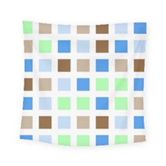 Colorful Green Background Tile Pattern Square Tapestry (small)