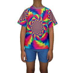 Colorful Psychedelic Art Background Kids  Short Sleeve Swimwear